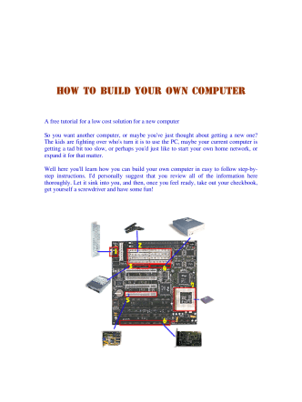 How to build your own computer