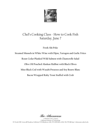Chefs Cooking Class - How to Cook Fish - The Athenaeum