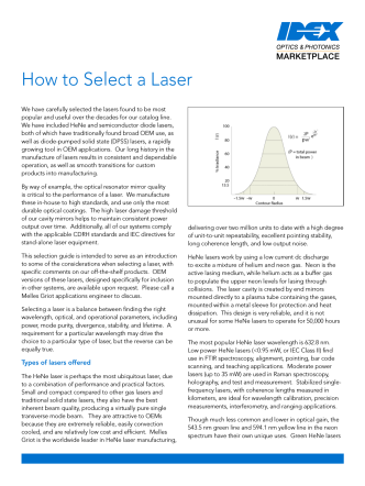 How to Select a Laser - IDEX Optics  Photonics