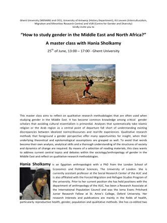 """How to study gender in the Middle East and North - KU Leuven"
