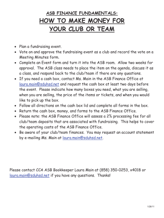 How to Make Money for Your Club or Team - CCA ASB