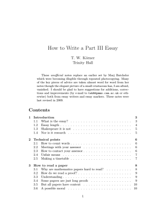 How to Write a Part III Essay - Department of Pure Mathematics and