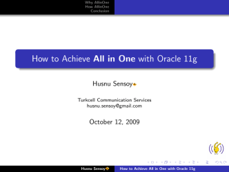 How to Achieve All in One with Oracle 11g - The great grandson of
