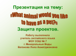 Презентация на тему: «What animal would you like to have